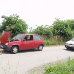 A car break down at the roadside