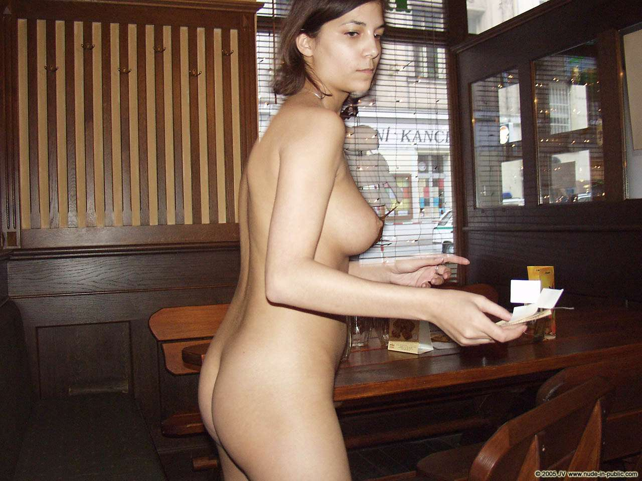 At her work place Serving in the nude