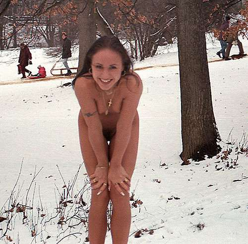 In a snow covered park
